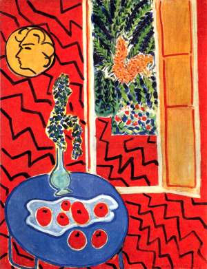 Henri matisse int rieur rouge nature morte sur table bleue for Interieur rouge matisse